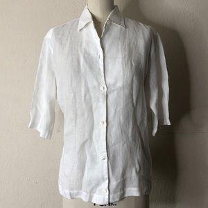 Loro Piana white linen summer shirt 46 L